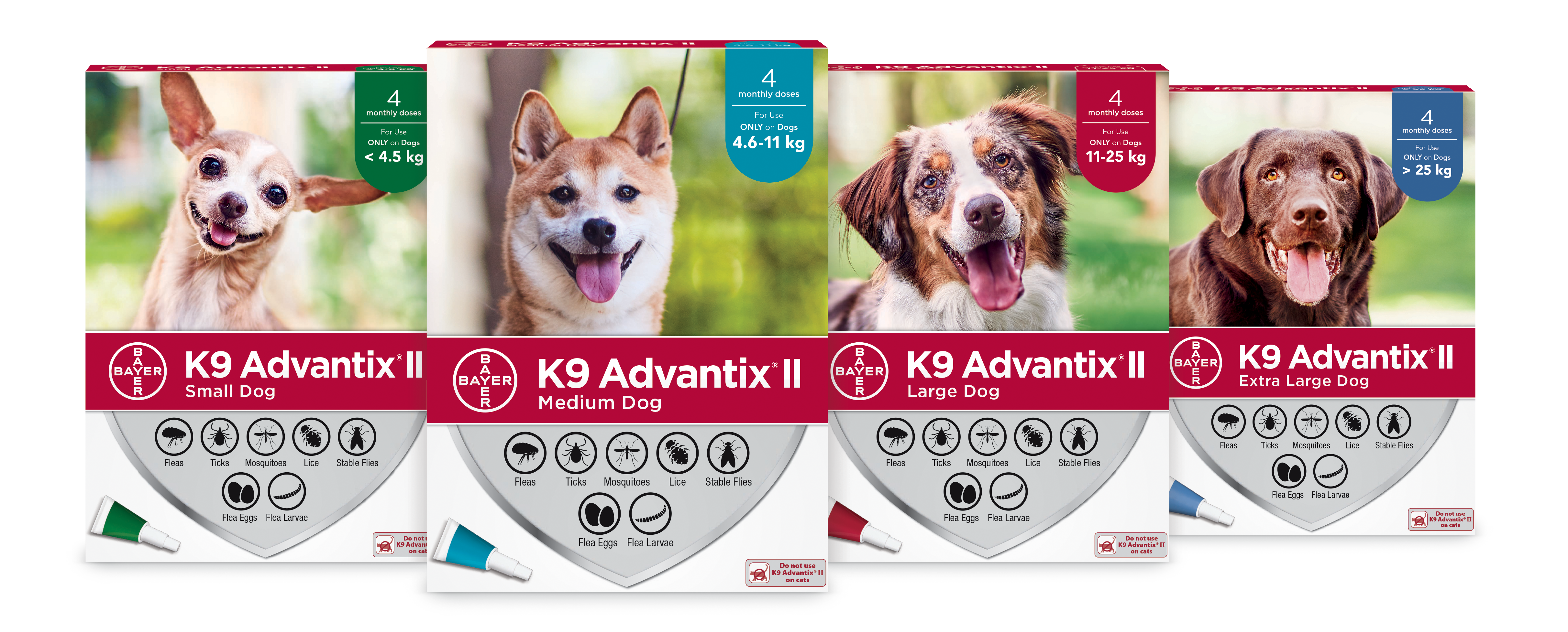 K9 Advantix®II treats fleas, ticks, lice, mosquitoes and stable flies